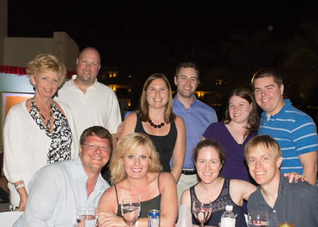 Richmond branch manager and customers at dinner in Mexico