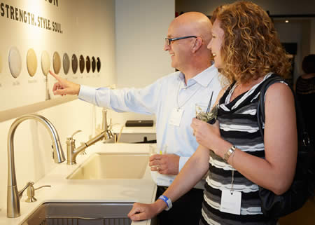 customers selecting a new kitchen sink at the somerville showroom